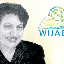 Sketch portrait of Nasrine Gross, along with WIJABA logo.