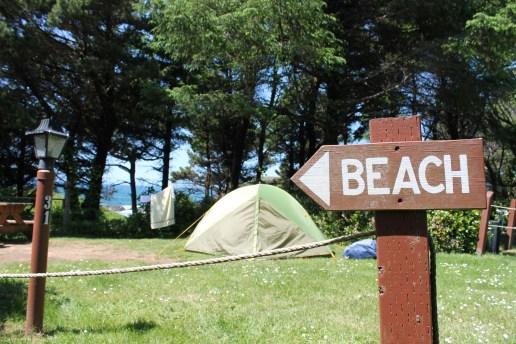 Camp set up at Seal Rock, OR