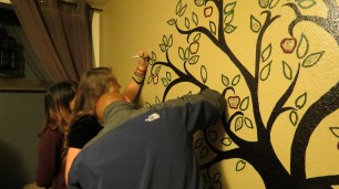 The tree that every ACTS student signs after they are done with ACTS! Each student signs a leaf.