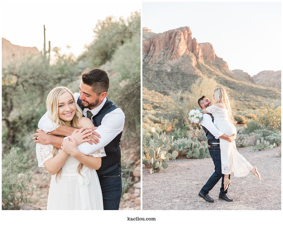 Salt river elopement photo Mesa Arizona desert trail