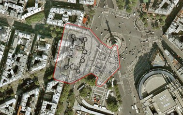 Outline of the Bastille today (photo courtesey of EmersonKent.com History)
