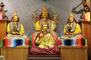 Geshe-la statue in temple at Manjushri Centre England