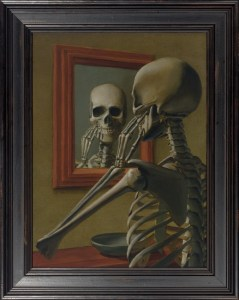 skeleton in mirror