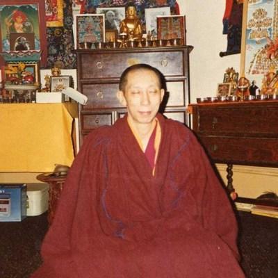 Geshe-la meditating in his room