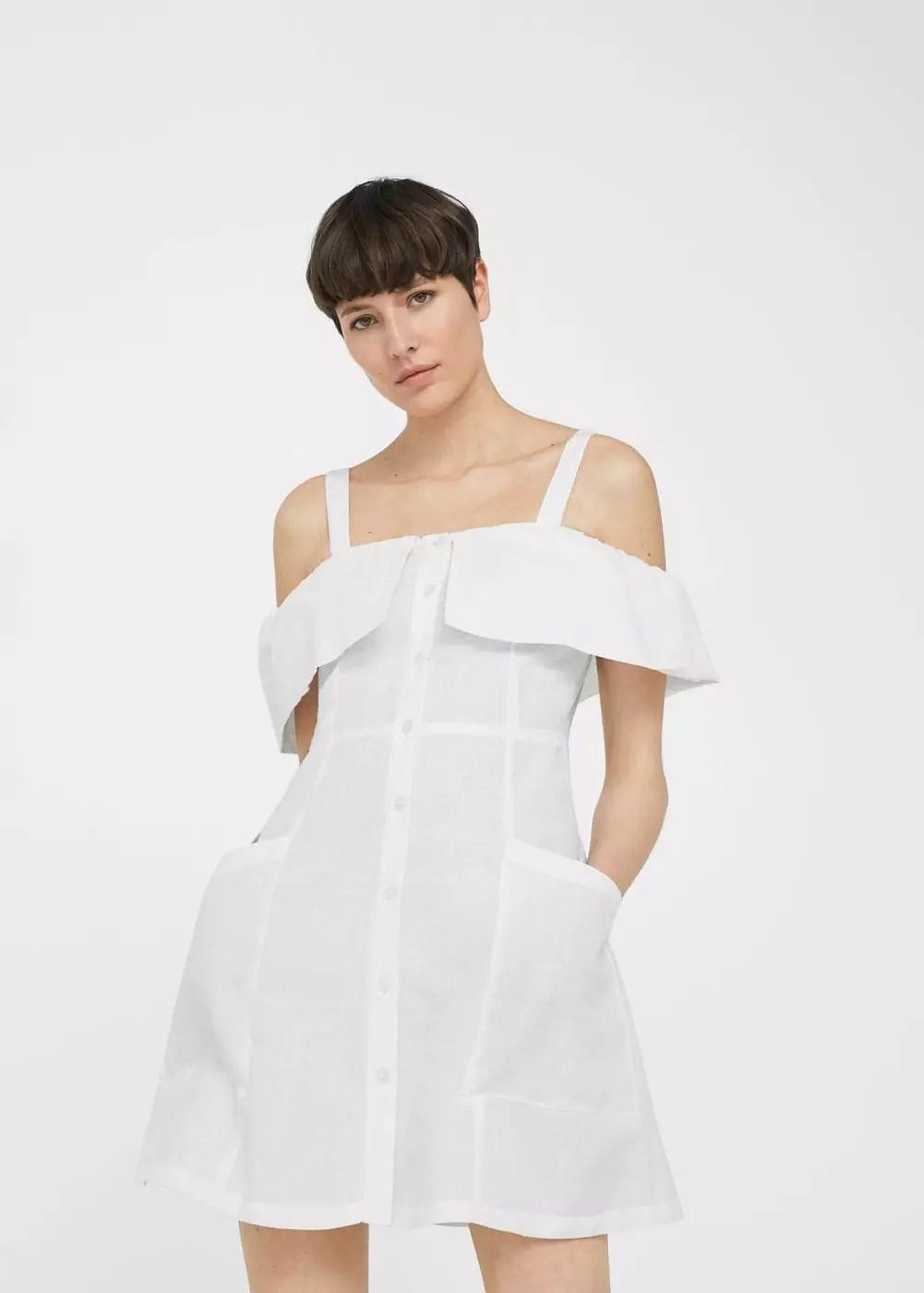 Off-shoulders linen dress