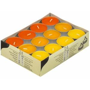 Gekleurde waxine lichtjes oranje24 stuks