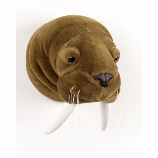 Pluche walrussenkop voor aan de muur
