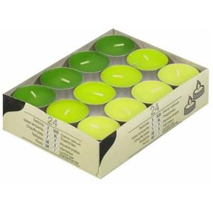 Gekleurde waxine lichtjes groen 24 stuks