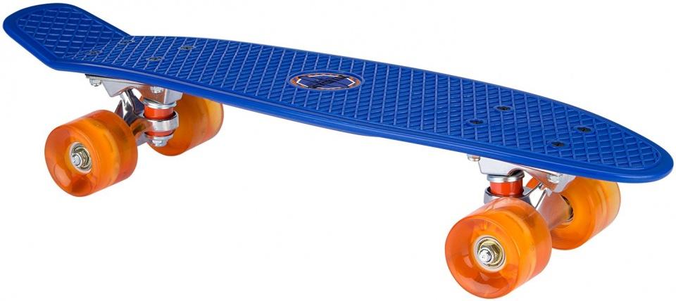 Nijdam skateboard Flip Grip LED wielen 57 cm blauw/oranje