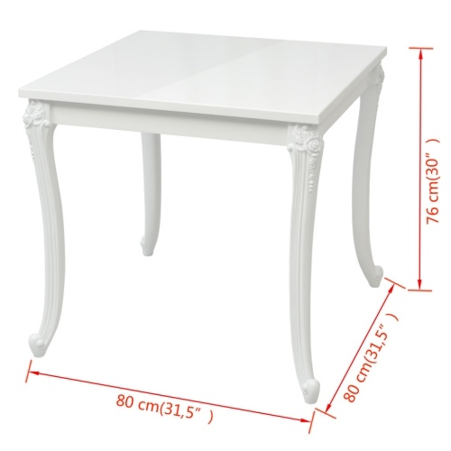 """""""Dining Table 31.5""""""""x31.5""""""""x30"""""""" High Gloss White"""""""