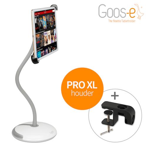 TABLET HOUDER MET VOET + KLEM voor PRO-XL iPad en tablets 9 t/m 14 inch WIT
