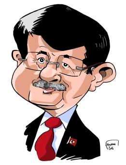Ahmet Davutoğlu, caricature du premier ministre de la Turquie