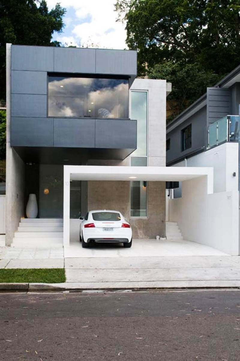 10 Modern Houses With Rock Climbing Walls: Cool Garage Ideas For Car Parking In Modern House Design