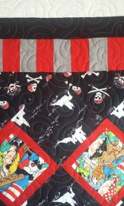 PIRATE BABY QUILT - Pieced by Barb J; Quilted by Kadydid Studio