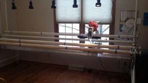 FREDDIE IS READY FOR ACTION! My new long-arm quilting machine is all assembled.