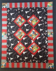 PIRATE BABY QUILT Pieced by Barb J; Quilted by Kadydid Studio