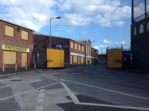Gates separating Protestant and Catholic sides in west Belfast