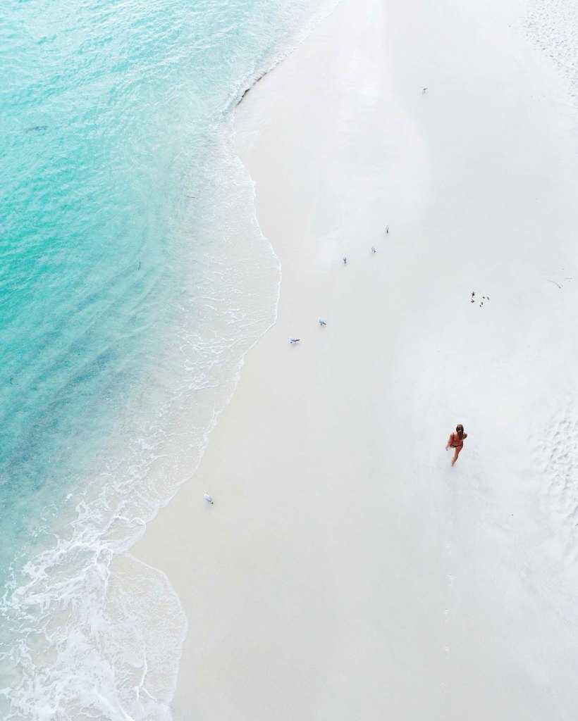 aerial photo of the whitest sand in the world
