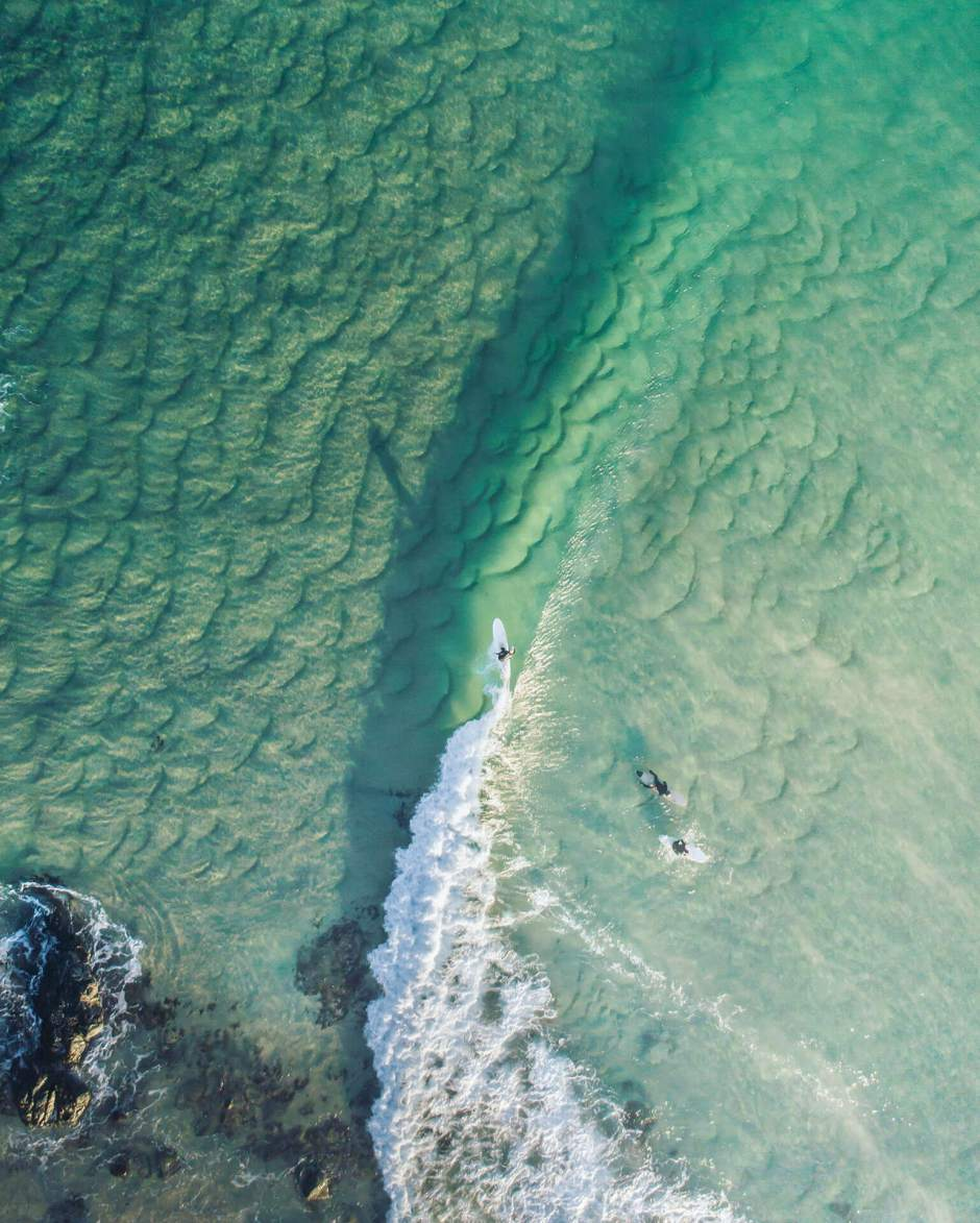 Aerial of Surfer at Scotts Head Beach