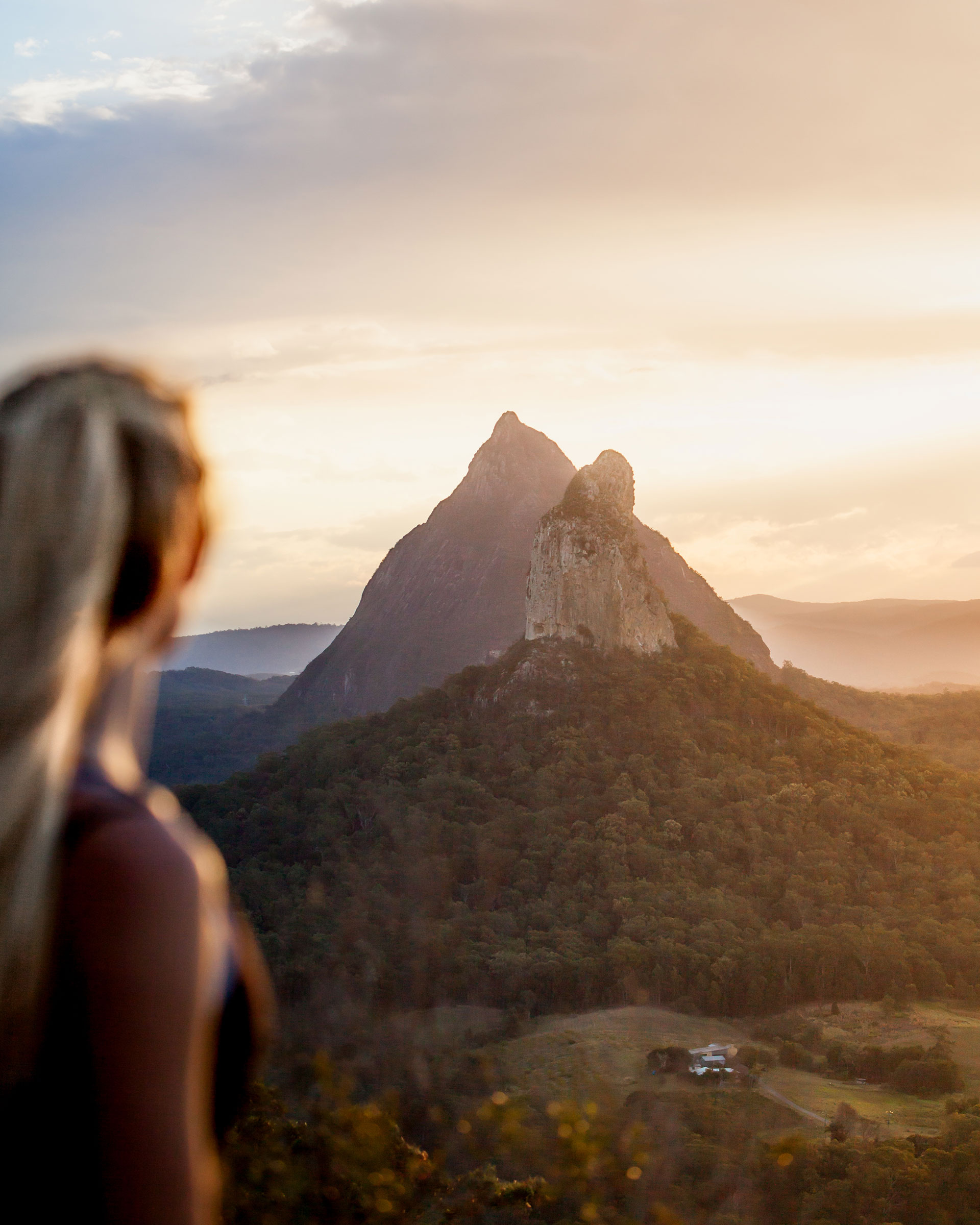 A Tranquil Sunset At The Glass House Mountains