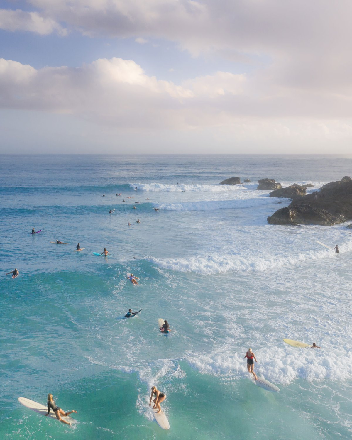 Aerial of Surfers at The Pass