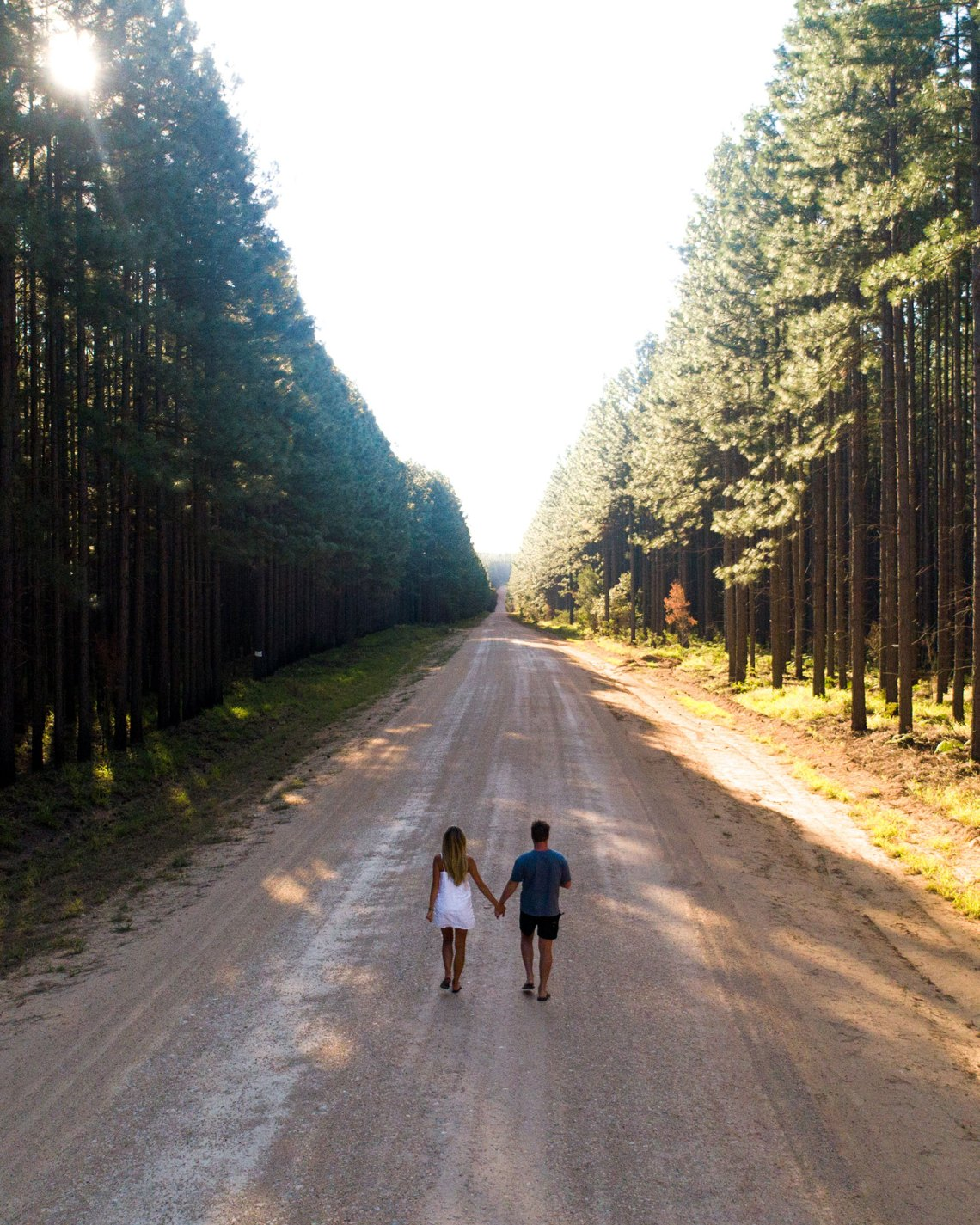 Aerial Of Couple At Toolara Forest