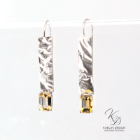 Reticulated Silver and Citrine Earrings