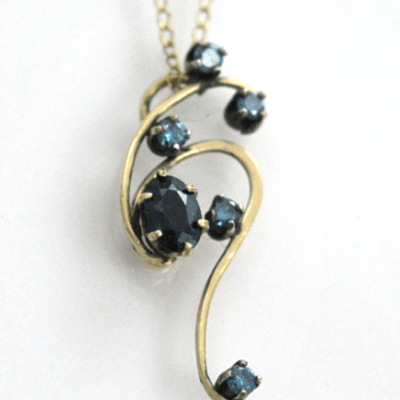 Blue Diamond and Sapphire hand made forged Art Pendant by Kaelin Design