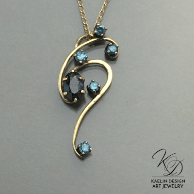 All the Stars Blue Diamond Fine Art Jewelry Pendant by Kaelin Design