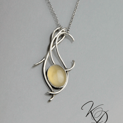 'Dancing Flame' forged silver and Agate by Kaelin Design
