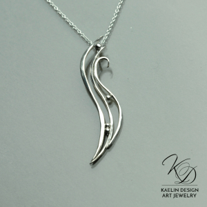 Rippling Waves sterling silver forged Art pendant by Kaelin Design