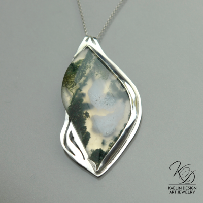 Serenity Fine Art Jewelry Pendant by Kaelin Design with Moss Agate in Sterling Silver