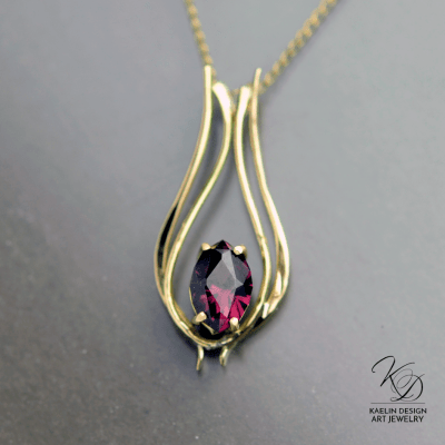 Firelight Garnet and Forged Gold Pendant by Kaelin Design