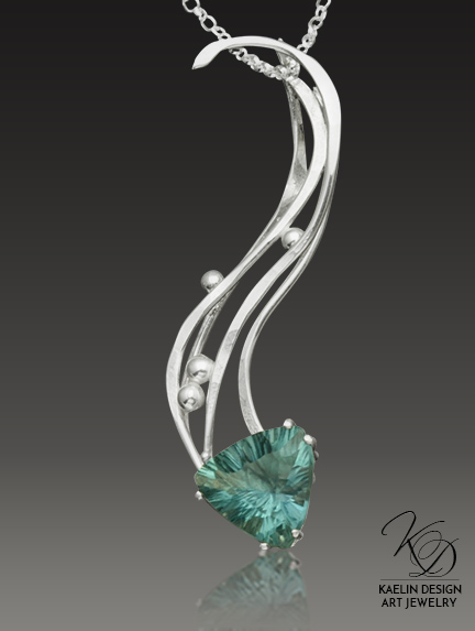 Sea Spray Blue-Green Fluorite Art Jewelry Pendant by Kaelin Design
