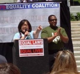 Getting the crowd pumped up at the statewide #NY4Women rally in Albany - 2013