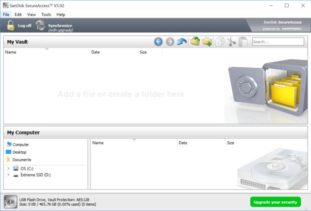 โปรแกรม SanDisk SecureAccess ที่แถมมาด้วย