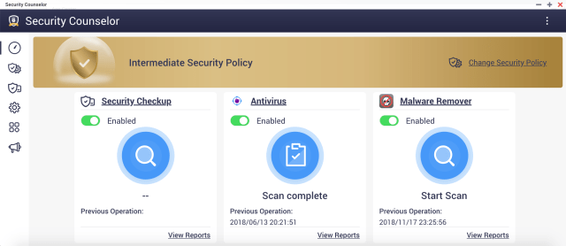 หน้า Dashboard ของ QNAP Security Counselor