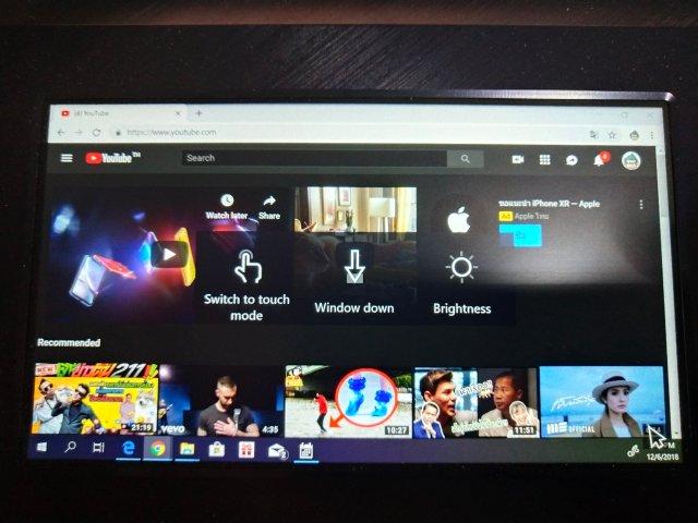โหมดการแสดงผลมีสองแบบ คือ Cursor mode ซึ่งทำให้ ScreenPad ทำหน้าที่เป็น TouchPad เหมือนเดิม กับ Touch mode ที่ให้เราควบคุมทุกอย่างบนหน้าจอ ScreenPad เหมือนกำลังใช้แท็บเล็ตขนาด 5.5 นิ้ว