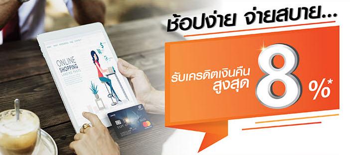 บัตรเครดิตธนชาต ช้อปออนไลน์ คุ้มหนักเว่อร์! รับสิทธิพิเศษ 2 ต่อ เครดิตเงินคืนสูงสุด 8% ในเว็บไซต์ชั้นนำที่ร่วมรายการ 5