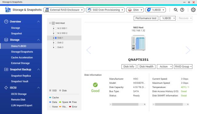ตัวอย่างประกอบบทความนี้ QNAP TS-351 กับ WD Red 5TB 1 ลูก