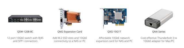 ตัวอย่างของอุปกรณ์เน็ตเวิร์ก 10GbE ได้แก่ ตัว Network switch, 10GbE + M.2 SSD expansion card, 10GbE expansion card และ Thunderbolt 3 to 10GbE