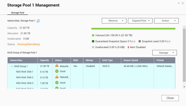 หน้าจอ Storage Pool Management กำลังแสดงสถานะว่ากำลัง Rebuild RAID Group
