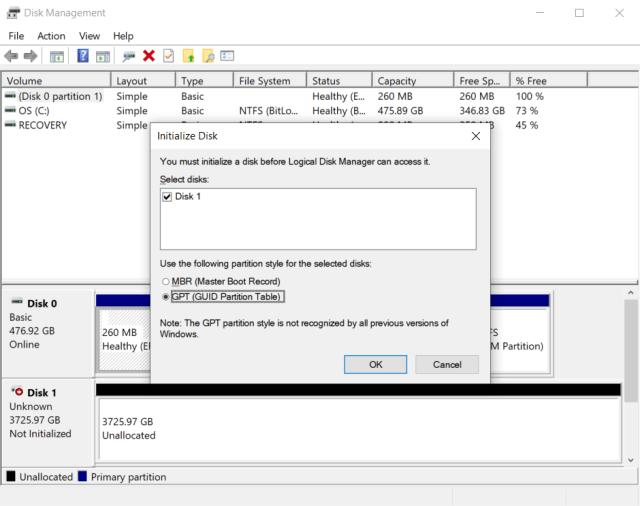 ใช้ Disk Management ของ Windows นี่แหละ ในการ Initialize และ Format ฮาร์ดดิสก์