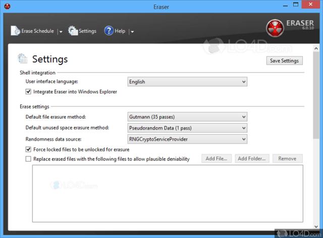 ตัวอย่างหน้าจอโปรแกรม Eraser สำหรับ Windows