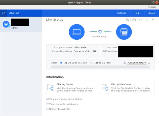 หน้าจอโปรแกรม Qsync client ที่กำลังซิงก์ข้อมุลไปยัง QNAP NAS อยู่