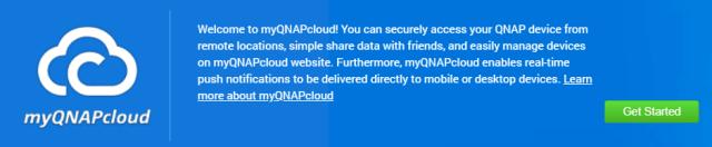 หน้าจอเริ่มต้นการตั้งค่า myQNAPcloud บน QNAP NAS