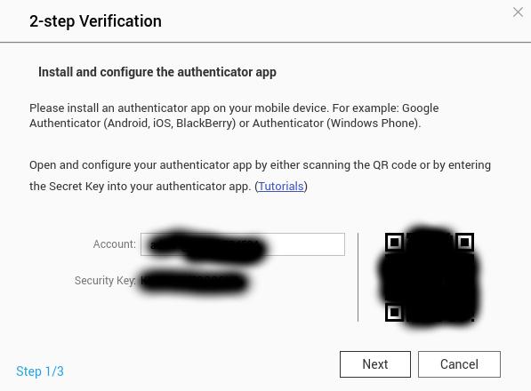 หน้าจอการตั้งค่า Authenticator app ของ QNAP NAS