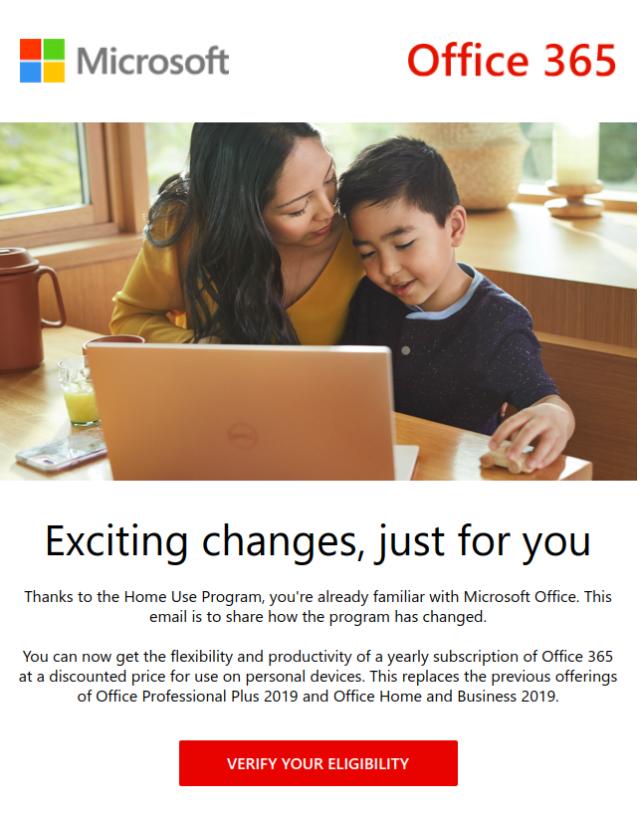 ภาพเนื้อหาอีเมลจากไมโครซอฟต์เรื่องโครงการ Home Use Program