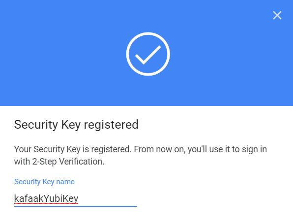 หน้าจอแสดงผลว่าการตั้งค่า Security Key เสร็จแล้ว อันนี้ผมตั้งชื่อเป็น kafaakYubiKey