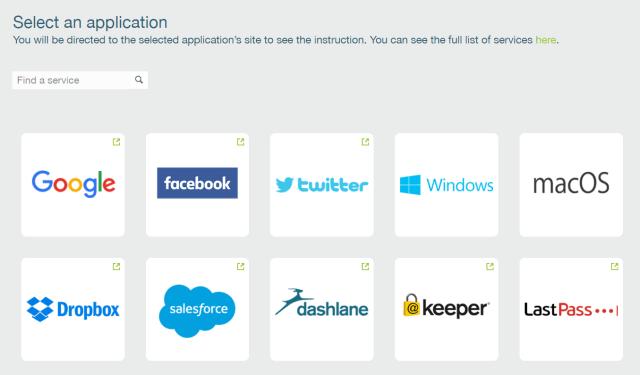 ภาพแสดงตัวอย่างบริการออนไลน์ หรือโปรแกรม ที่รองรับ YubiKey